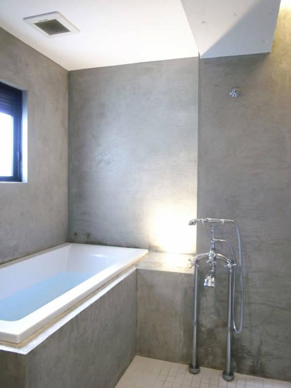 ゼロリノベ,マンションリノベーション,バスルーム,モルタル,壁付けシャワー