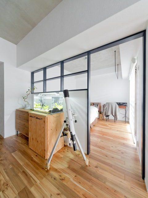マンションリノベーション、ハコリノベ、室内窓、リビング寝室、オープン寝室