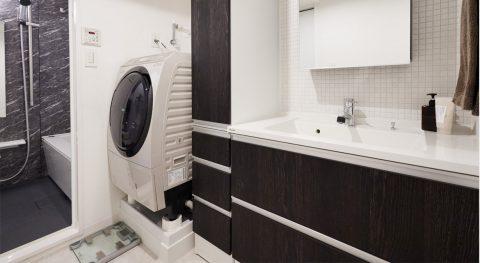 マンションリノベーション、インテリックス空間設計、洗面収納、洗面タイル壁、ボウル一体型カウンター