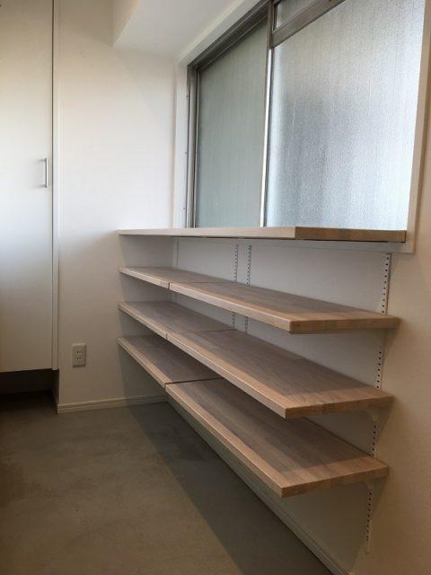 マンションリノベーション、アートテラスホーム、玄関土間、玄関収納、オープン靴入れ
