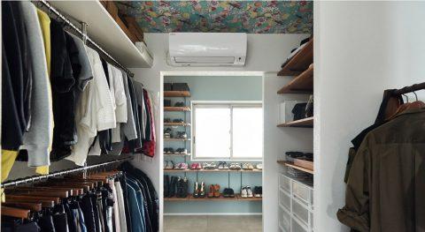 マンションリノベーション、インテリックス空間設計、ウォークスルークローゼット、天井アクセントクロス、衣類収納
