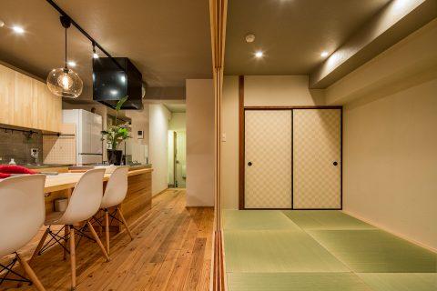 マンションリノベーション、株式会社駿河屋、琉球畳風、テーブルキッチン、畳リビング