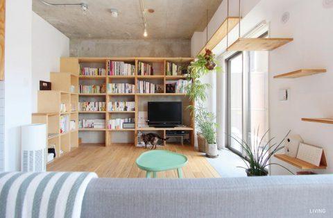 マンションリノベーション、nu(エヌ・ユー)リノベーション 、造作本棚、キャットステップ、猫家具