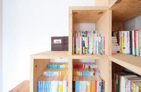 マンションリノベーション、nu(エヌ・ユー)リノベーション 、階段型ラック、文庫本収納、猫本棚