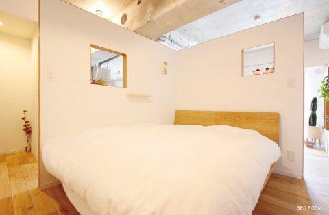 マンションリノベーション、nu(エヌ・ユー)リノベーション 、オープン寝室、室内窓、リビング寝室