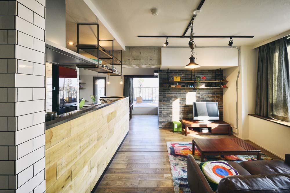 スタイル工房、マンションリノベーション、オープンキッチン、アイランドキッチン、サブウェイタイル、カフェ風、