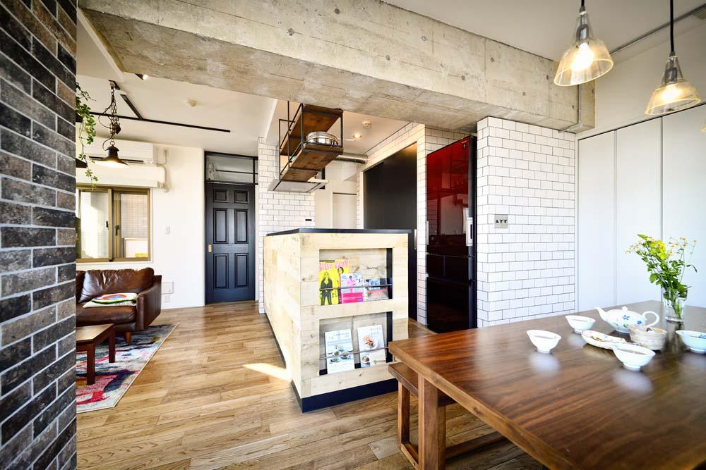 スタイル工房、マンションリノベーション、オープンキッチン、アイランドキッチン、サブウェイタイル、カフェ風