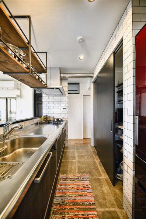 スタイル工房、マンションリノベーション、、オープンキッチン、アイランドキッチン、キッチン収納、背面収