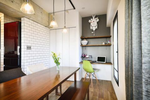 スタイル工房、マンションリノベーション、サブウェイタイル、タイル壁、アクセントクロス、スタディスペース、書斎スペース、リビング学習