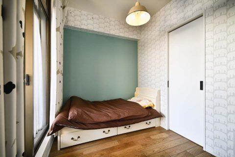 スタイル工房、マンションリノベーション、子ども室、子ども部屋、アクセントクロス、ゾウの壁紙、