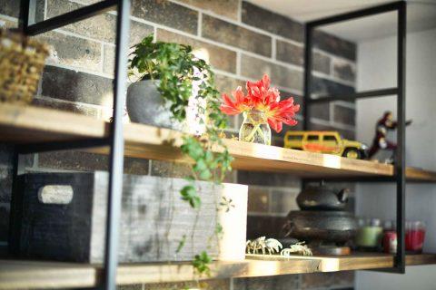スタイル工房、マンションリノベーション、レンガ風壁紙、アクセントクロス、カフェ風