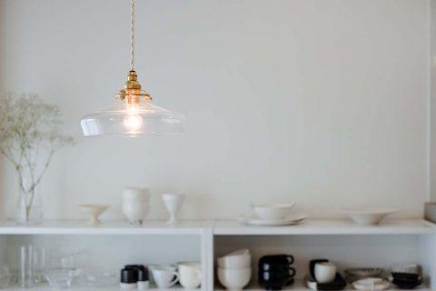 マンションリノベーション、リノデュース、オープン食器棚、ガラスシェード、ダイニング収納