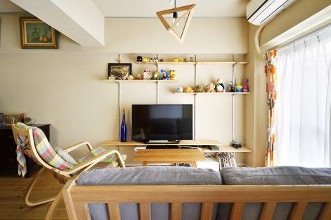 マンションリノベーション、株式会社 夢工房、見せる収納、オープン可動棚、オープンテレビボード