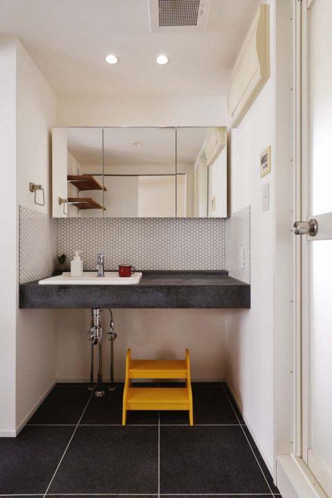 スタイル工房、マンションリノベーション、パウダーコーナー、洗面台、モールテックス、造作洗面台