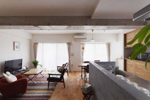 スタイル工房、マンションリノベーション、リビングダイニング、対面キッチン、モールテックス