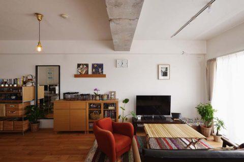 スタイル工房、マンションリノベーション、無印の家具、リビング、あたたかみのあるインテリア