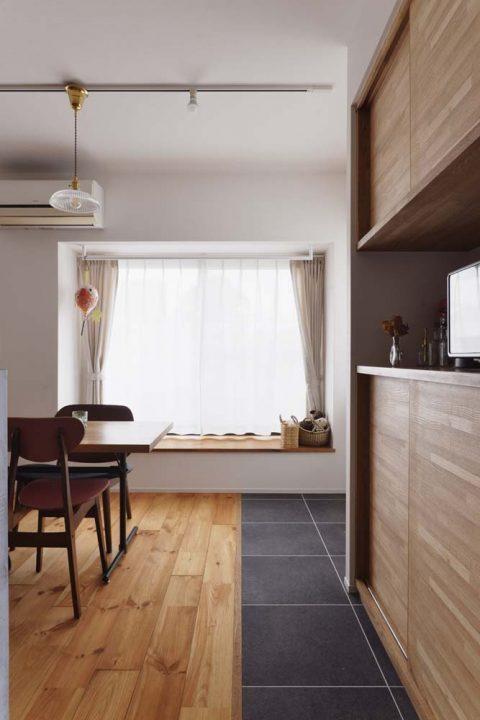スタイル工房、マンションリノベーション、ベンチつき窓、出窓、木製ベンチ