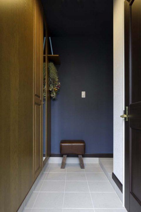 戸建リノベーション、三井のリフォーム(三井不動産リフォーム) 、玄関土間、ホテルライク玄関、落ち着いた玄関