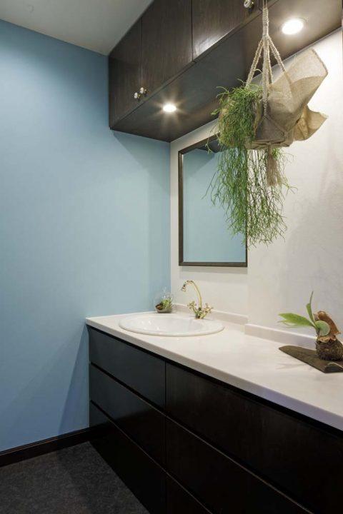 戸建リノベーション、三井のリフォーム(三井不動産リフォーム) 、ペパーミント壁紙、洗面カウンター、グリーンを飾る、洗面収納