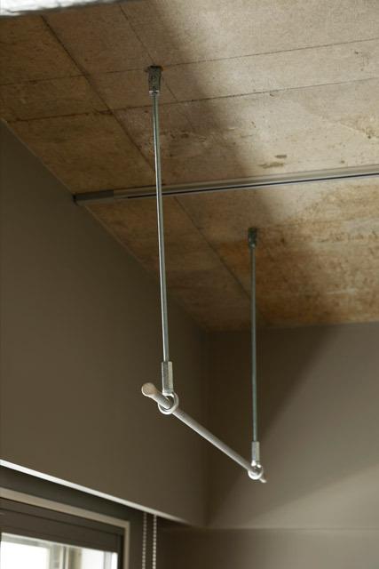 マンションリノベーション、インテリックス空間設計、室内干し、リビング洗濯物、一時掛け