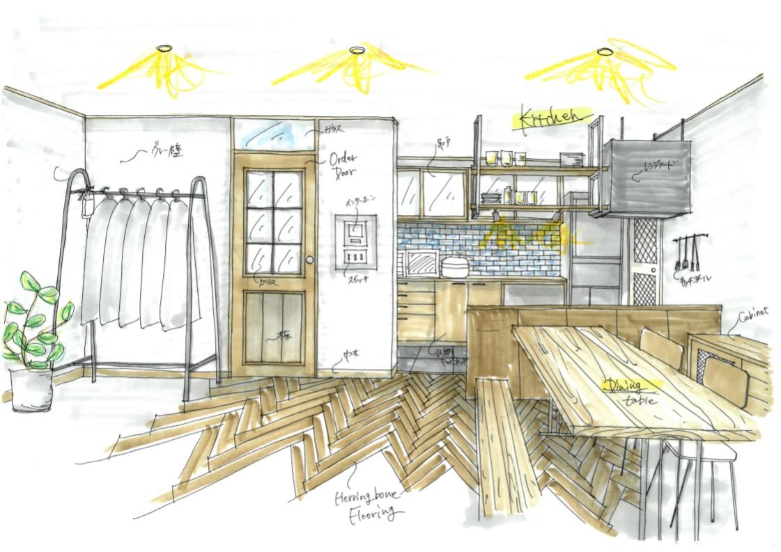 戸建リノベーション、スクールバス空間設計、パース図、ヘリンボーン、着彩パース