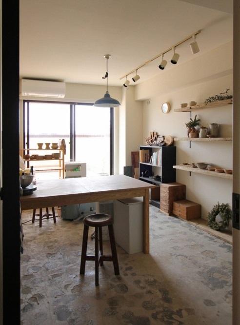 マンションリノベーション、フィールドガレージ、アトリエ、コンクリート床、陶芸室