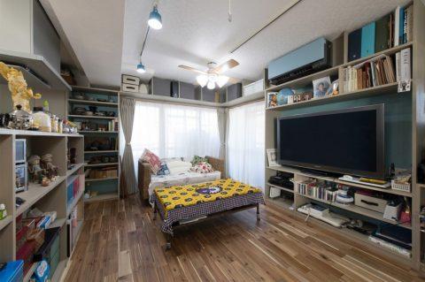 マンションリノベーション、H2DO一級建築士事務所、壁面収納、オープン収納、リビング収納