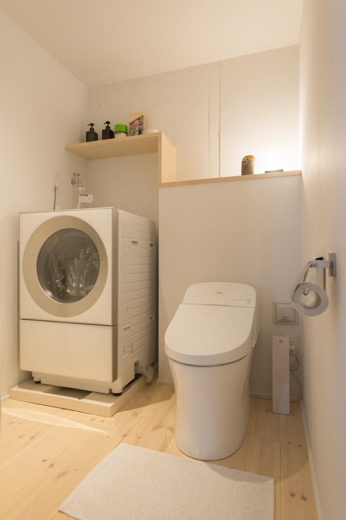 マンションリノベーション、ゼロリノベ、間接照明、トイレに洗濯機、違い棚