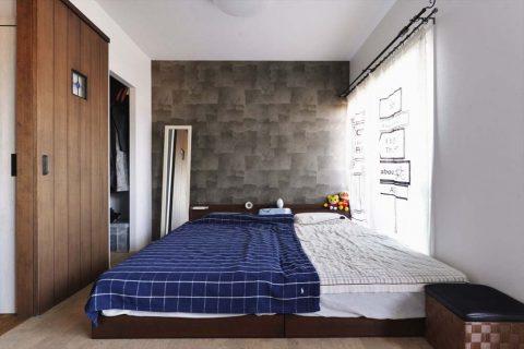マンションリノベーション、2戸をつなげる、スタイル工房、子育てしやすい家、RC構造、寝室、将来は2部屋に分ける、子ども室、アクセントウォール、コルク床