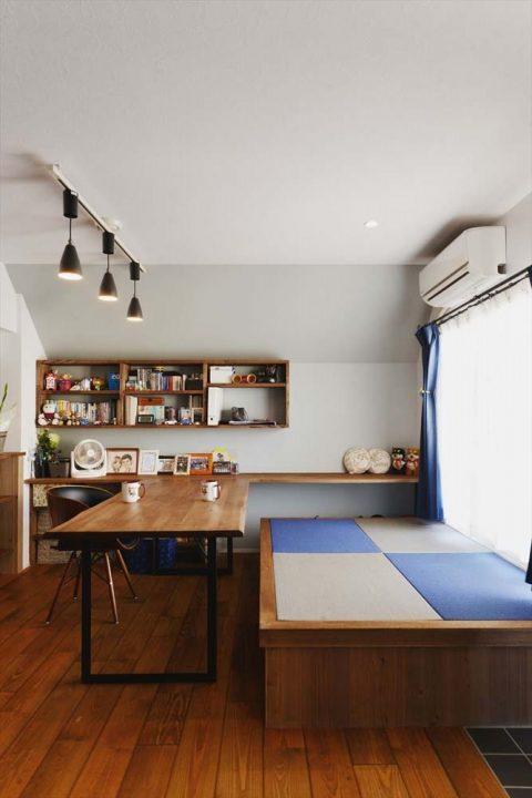 マンションリノベーション、2戸をつなげる、スタイル工房、子育てしやすい家、RC構造、アンティーク調、木のぬくもり、畳みスペース、小上がり