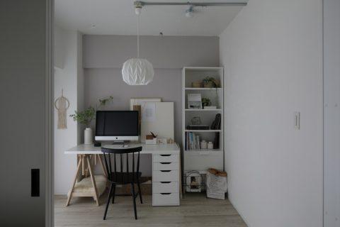 インテリックス、マンションリノベーション、ワークスペース、DIY、ペイント、グレーの壁、書斎、IKEA