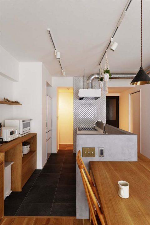 マンションリノベーション、スタイル工房、パントリー、キッチン収納、名古屋タイル、コラベル、家事動線、モールテックス