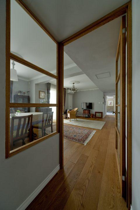 マンションリノベーション、GLADDEN、室内窓、ガラス入りドア、ナラ無垢材
