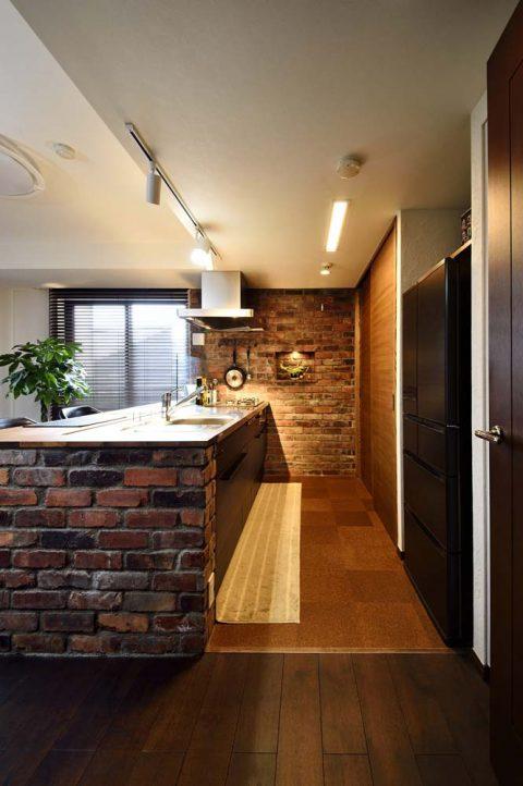 キッチン、コルクタイル、床、マンションリノベ、スタイル工房
