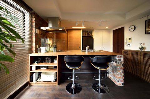 キッチン、バー、カウンター、リノベーション、マンション、スタイル工房