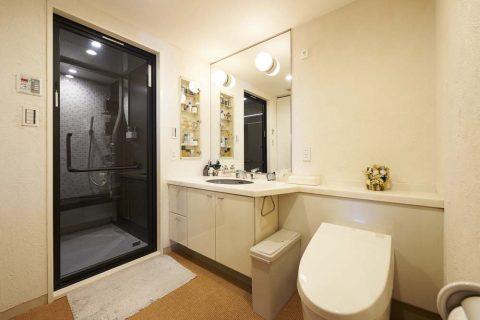 洗面室、珪藻土、調湿効果、サイザル麻カーペット、リノベーション
