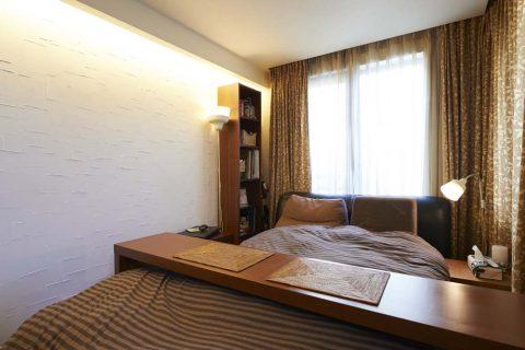 ベッドルーム、珪藻土、壁、テクスチャー、造作照明、DIY、リノベーション