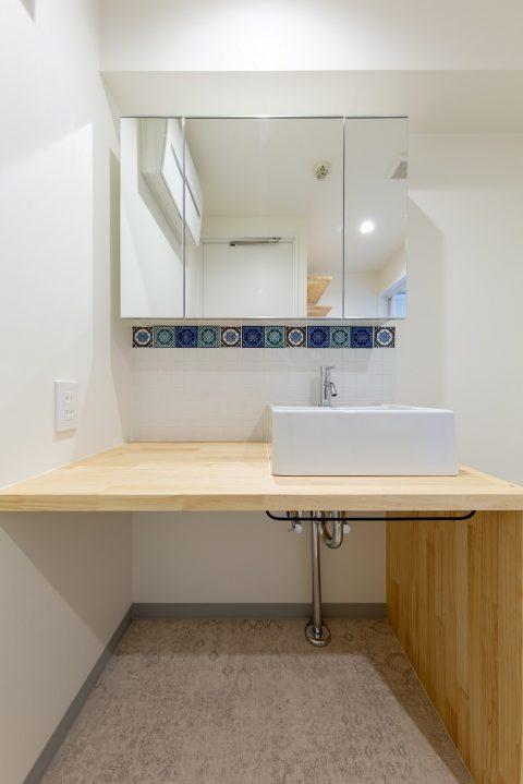 マンションリノベーション、リノベ不動産|Three Eight 、スクエアボウル、造作洗面カウンター、洗面収納