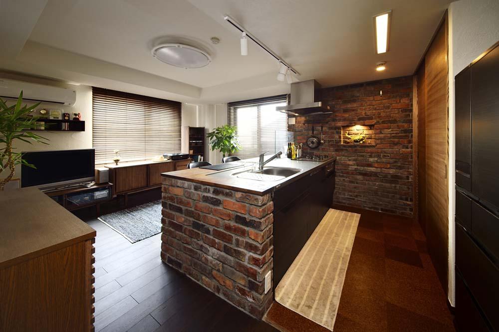 スタイル工房、スライスレンガ、珪藻土、塗り壁、防音、無垢材、リノベーション